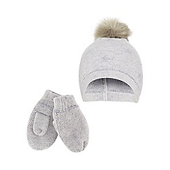 J by Jasper Conran - Girls' grey knitted pom-pom hat and mitten set with wool