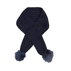 J by Jasper Conran - Girls' navy cable knit pom pom scarf