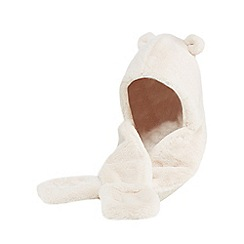 Mantaray - Girls' cream faux fur ear applique hat scarf