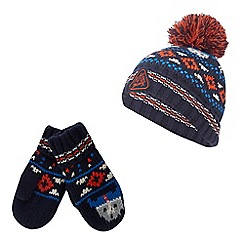 Mantaray - Boy's multi-coloured Fair Isle hat and mittens set