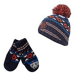 Mantaray - Boy's multi-coloured Fair Isle hat and mittens set