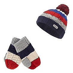 J by Jasper Conran - Boys' multi-coloured stripe beanie and mittens set