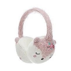 Mantaray - Kids' pink fox embroidered earmuffs