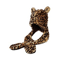 bluezoo - Kids' brown leopard print faux fur hat scarf