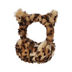 bluezoo - Kids' brown leopard print faux fur earmuffs
