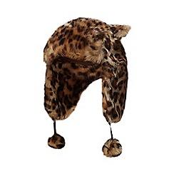 bluezoo - Kids' brown leopard print faux fur trapper hat