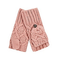 Mantaray - Girls' pink cable knit mittens