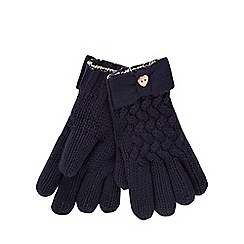 Baker by Ted Baker - Girls' navy cable knit gloves