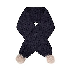 Baker by Ted Baker - Girls' navy weave knit pom pom scarf