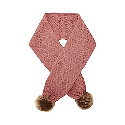 Mantaray - Kids pink cable knit pom pom scarf