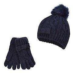 342eeb81b9e J by Jasper Conran - Girls  navy pom pom beanie and gloves set