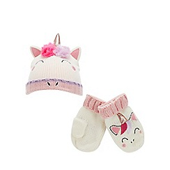 bluezoo - Girls' cream unicorn knitted hat and mittens set
