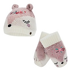 Mantaray - Girls' pink fox hat and mittens set