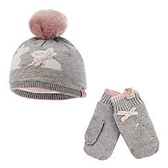 Baker by Ted Baker - Girls  pink bunny beanie hat and mittens set 5589cf8b42405