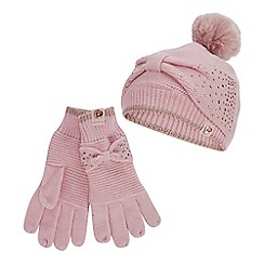 Baker by Ted Baker - Girls' Pink Diamante Bow Beanie Hat and Gloves Set