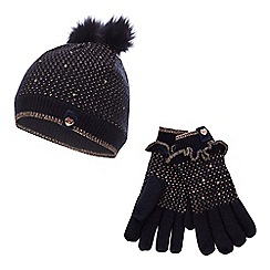 Baker by Ted Baker - Girls' Navy Metallic Trim Beanie Hat and Gloves Set
