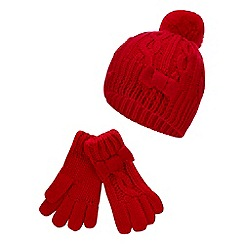 J by Jasper Conran - Girls' Red Cable Knit Beanie Hat and Gloves