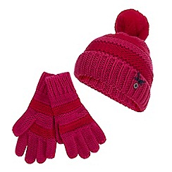 J by Jasper Conran - Girls' Pink Knitted Stripe Beanie Hat and Gloves Set