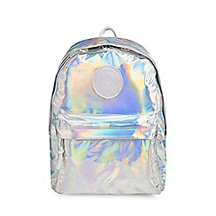 Hype - Silver holographic embroidered logo backpack