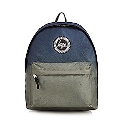 Hype - Navy and green faded embroidered logo backpack