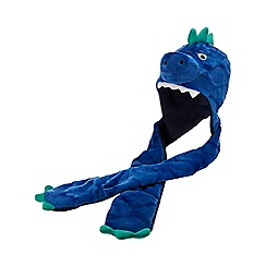 bluezoo - Boys' blue dinosaur applique hat scarf