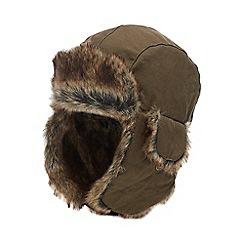 Mantaray - Boys' Khaki Faux Fur Lined Trapper Hat