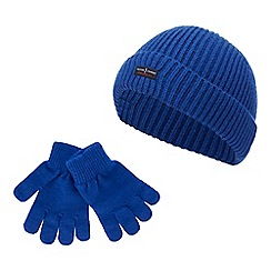 J by Jasper Conran - Kids' blue ribbed beanie and gloves set