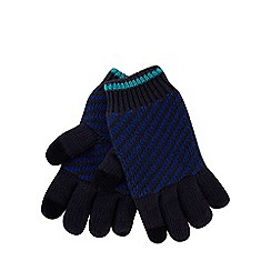 Baker by Ted Baker - Boys' navy striped touch screen gloves