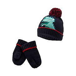 bluezoo - Kids' navy dinosaur hat and mittens set