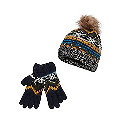Mantaray - Boys' multicoloured Fair Isle beanie and gloves set