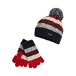 J by Jasper Conran - Boys' multicoloured cable stripe beanie and gloves set