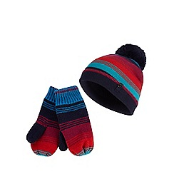 Baker by Ted Baker - Boys' multicoloured striped hat and gloves set