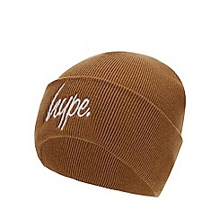 Hype - Kids' Tan Embroidered Logo Knit Beanie