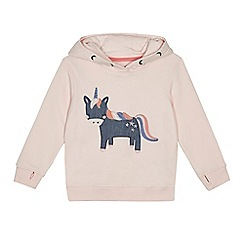 bluezoo - Girls' pink unicorn embroidered hoodie