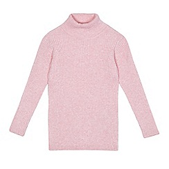 bluezoo - Girls' light pink ribbed roll neck jumper
