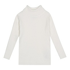 bluezoo - Girls' cream ribbed roll neck jumper