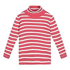 bluezoo - Girls' pink striped roll neck jumper
