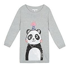 bluezoo - Girls' grey sequinned panda tunic