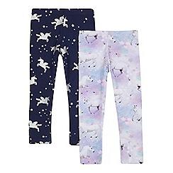 bluezoo - Pack of two girls' pink unicorn print leggings