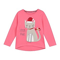 bluezoo - Girls' pink 'Santa Paws' Christmas cat applique top