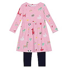 bluezoo - Girls' pink and navy animal print dress and leggings set