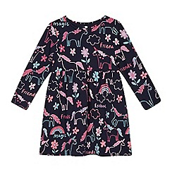 bluezoo - Girls' navy unicorn and floral print dress