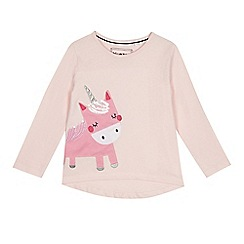 bluezoo - Girls' light pink unicorn applique top