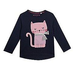 bluezoo - Girls' navy cat applique top