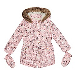 Mantaray - Girls' pink shower resistant horse print coat and mittens set