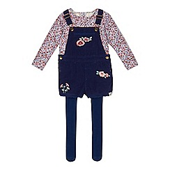 Mantaray - Girls' navy floral print dungarees, top and tights set