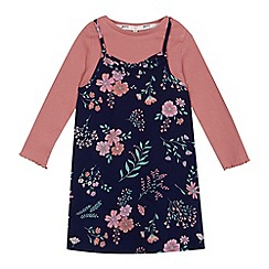 Mantaray - Girls' navy floral print dress and top set