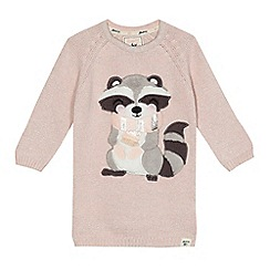 Mantaray - Girls' pink raccoon knitted dress