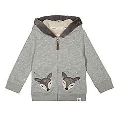 Mantaray - Girls' grey deer applique sweater