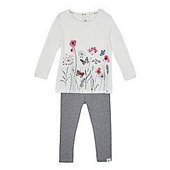 Mantaray - Girls' off white floral print top and leggings set